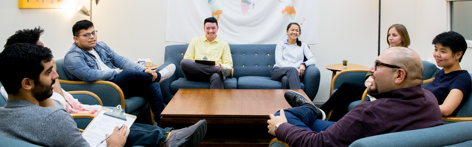 Students in a mock counseling session
